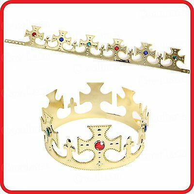 Majestic Royal Gold King Prince Queen Jeweled Crown Tiara-Costume-Party-Dress Up