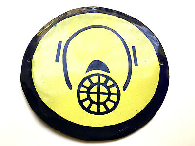 Vintage Tin Enamel Porcelain Sign Industrial Wear Gas Mask Bomb Shelter 1970's