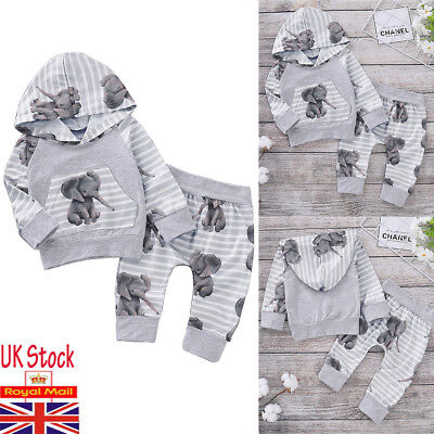 Newborn Baby Girls Boy Hooded Tops Pants Tracksuit Trousers Outfits Clothes Sets