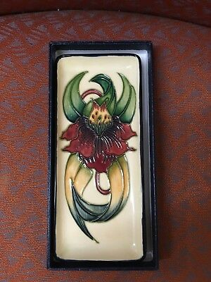 Moorcroft Anna Lily Pen tray in box. 1998. Monogrammed.