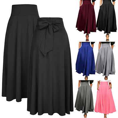 Women High Waist Pleated A Line Long Skirt Front Slit Belted Party Maxi Dress UK