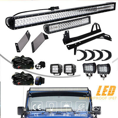 "52"" +22"" +4"" LED Light Bar +Mount Brackets Kit For Jeep Wrangler JK JKU Rubicon"