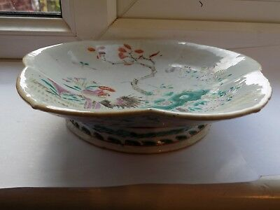 ANTIQUE CHINESE PORCELAIN FOOTED DISH HAND PAINTED CHICKEN & FOLIAGE D 21 cm