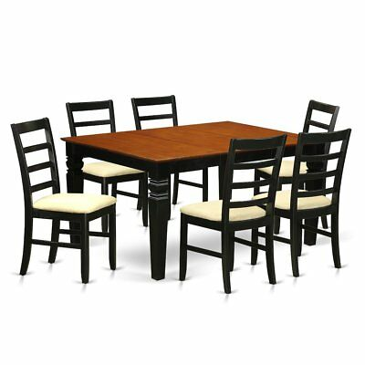 7  Pc  Dining  set  with  a  Dinning  Table  and  6  Kitchen  Chairs  in  Black