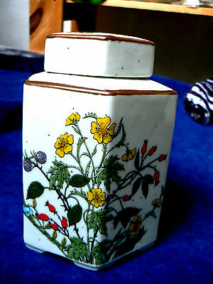 6 sided Ginger jar with Flower design