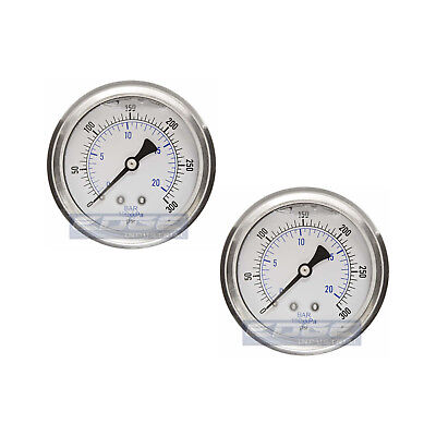 "2 Pack Liquid Filled Pressure Gauge 0-300 Psi, 2.5"" Face, 1/4"" Back Mount Wog"