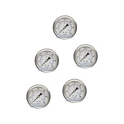 "5 Pack Liquid Filled Pressure Gauge 0-300 Psi, 2.5"" Face, 1/4"" Back Mount Wog"