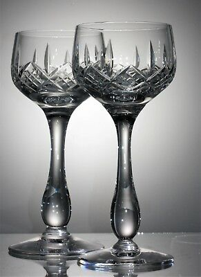 Two Heavy Lead Crystal Cut Glass, Tall Baluster Stem, Hock Wine Glasses - 150 ml