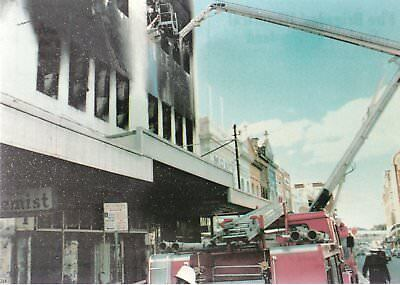 1979 Simon Snorkel HP in action at a building fire in Brisbane  - POSTCARD