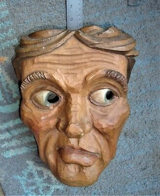 Vintage Hand Carved Wooden Carnival Dance Stage Parade Mask Man Face Wall Decor