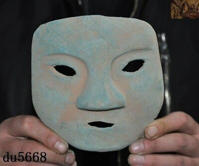Rare China Ancient dynasty Bronze Ware Sacrifice Ritual people head mask statue