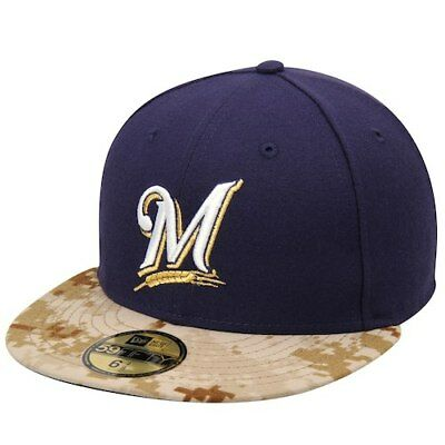 ad390deff0b07 New Era Milwaukee Brewers Navy 2015 Memorial Day On-Field 59FIFTY Fitted Hat