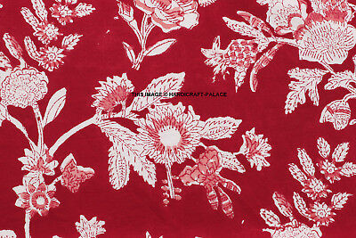 Indian Hand Block Print Red Paradise Cotton Voile Jaipuri By Yard Sewing Fabric