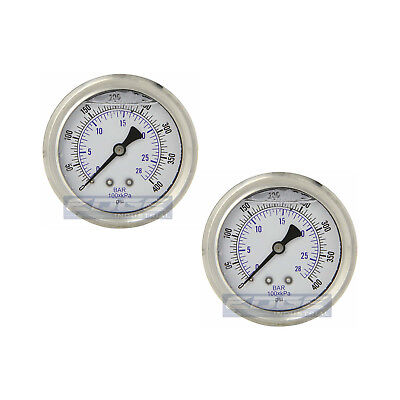 "2 Pack Liquid Filled Pressure Gauge 0-400 Psi, 2.5"" Face, 1/4"" Back Mount Wog"
