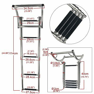 High Quality Boat 4 Step RIB Stainless Telescoping Swim Step Rubber Boat Ladder