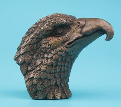 Vintage Chinese Bronze Statue Old Eagle Head Mascot Decorated Collection