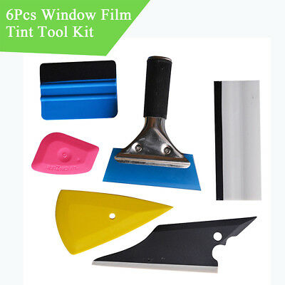 6Pcs Car Vinyl Install Window Water Wiper Squeegee Windshield Cleaning Tool Kit