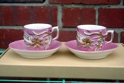 Two Gorgeous Antique 19Th Century German Pink Luster Demitasse Cups With Saucers