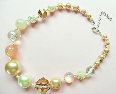 Necklace - Very Large Pale Amber Catseye Stone Beads & Pearls_Large Clear Beads