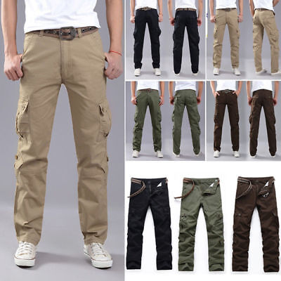 New Men's Combat Army Military Tactical Work Slim Fit Twill Cargo Pants Trousers