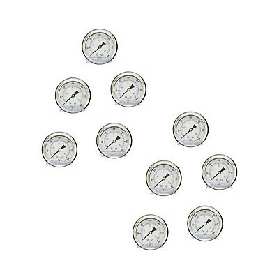 "10 Pack Liquid Filled Pressure Gauge 0-600 Psi, 2.5"" Face, 1/4"" Back Mount Wog"