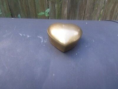 Vintage Solid Brass Heart Shaped Small Trinket Box