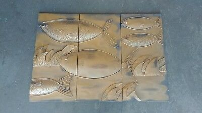 Vtg Metal Fish Wall Hanging SET OF 3 Mid Century Modern Coppertone