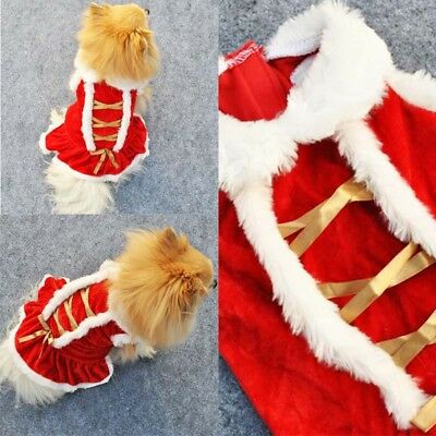 Pet Dog Dress Christmas Warm Skirt Puppy Red Festival Winter Clothes Padded