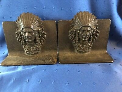 Indian Chief Full Headdress Cast Iron Bookends Vintage C. 1930's Original