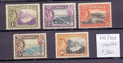 ! Dominica 1938-1947. Stamp. YT#101/105. €42.00 !