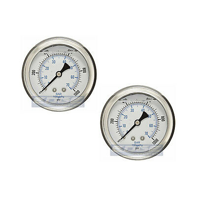 "2 Pack Liquid Filled Pressure Gauge 0-1000 Psi, 2.5"" Face, 1/4"" Back Mount Wog"
