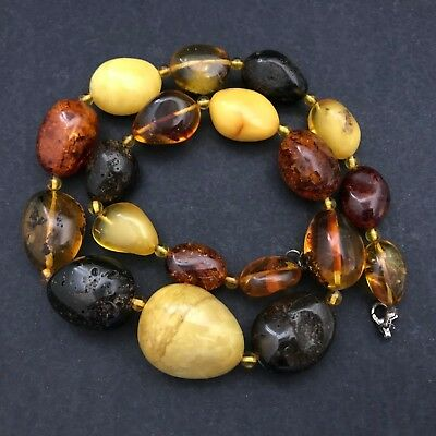 Art Deco Vintage Very Heavy Baltic Amber Necklace Butterscotch And Cognac 98Gram