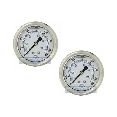 "2 Pack Liquid Filled Pressure Gauge 0-1500 Psi, 2.5"" Face, 1/4"" Back Mount Wog"