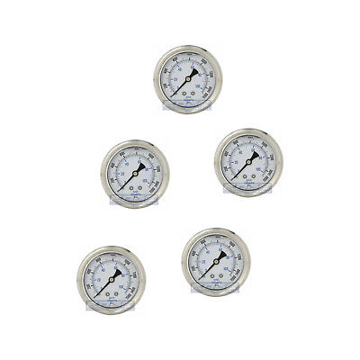 "5 Pack Liquid Filled Pressure Gauge 0-1500 Psi, 2.5"" Face, 1/4"" Back Mount Wog"