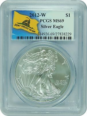 2012-W PCGS MS69 Burnished  Silver Eagle DON'T TREAD ON ME