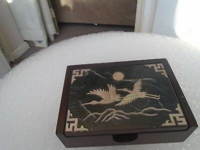 vintage Japanese playing cards box with mother of pearl birds design  NICE BOX