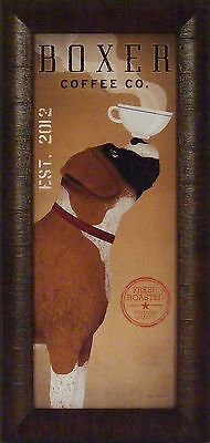BOXER COFFEE CO by Ryan Fowler 11x23 FRAMED PRINT Ad Sign Dog Cup Nose PICTURE