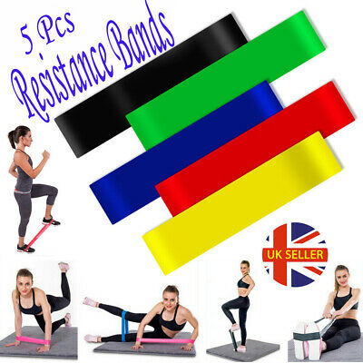 Resistance Bands Loop Set Exercise Sports Fitness Home Gym Yoga Latex Set of 5