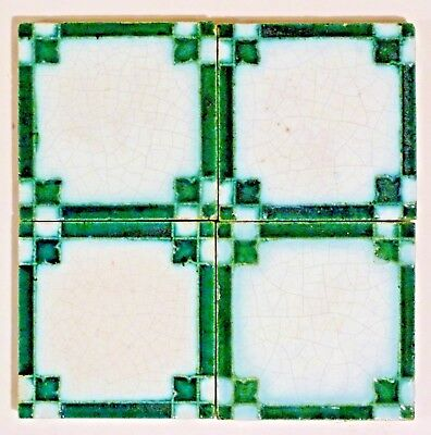 """Set of 4 relief moulded 3""""sq Art Deco tiles by Minton China Works, c1920"""