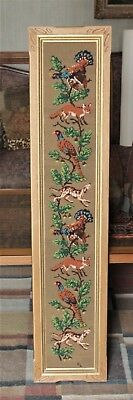Large Framed Vintage Needlepoint Of  Hunting Animals Signed By Clara Lahmer