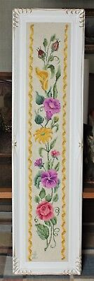 Large Framed Vintage Hand-Made Floral Rug Signed By Clara Lahmer Circa 1973