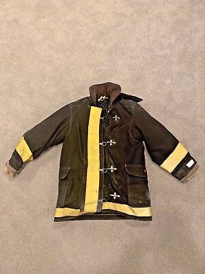 USED 1990 Lion Bodyguard Firefighter Turnout Coat Black/Yellow - 38x35x34