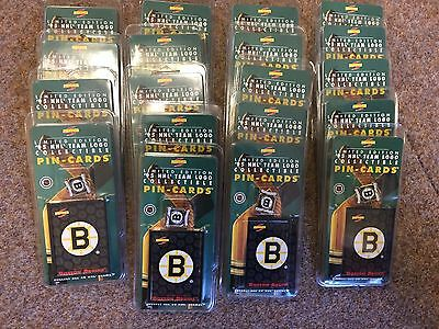 19 sets X NHL 1995 PINNACLE BOSTON BRUINS ICE HOCKEY PIN BADGE AND CARD SET