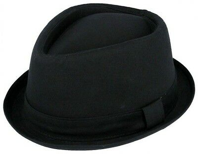 100% Cotton Hat Trilby Diamond Pork Pie Fedora Gangster Black Ladies Mens Boys