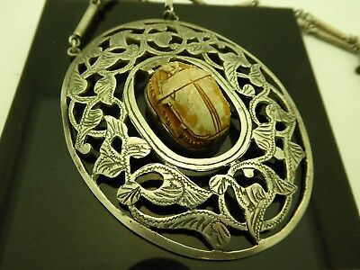 """Vintage Egyptian Revival Faience Scarab Silver 1960's Large Necklace Pendant 28"""""""