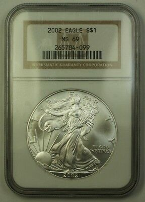 2002 US American Silver Eagle ASE $1 Coin 1 Ozt of Pure .999 NGC MS-69 GEM BU