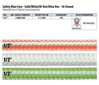 Teufelberger 16 Strand Climbing Rope Safety Blue Core - Solid White/Hi-Vee/Ultra
