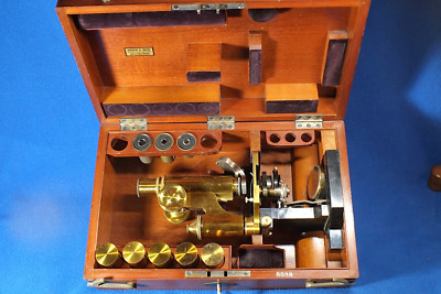 Zeiss Microscope Stand IVB s/n 8503 in Cabinet Antique 1885