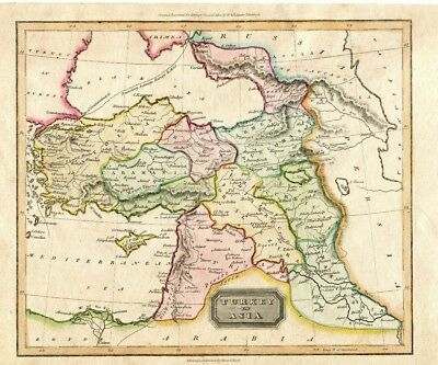 Hand Colored Map of Turkey and Asia Drawn Engraved for Ewing's General Atlas
