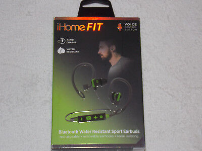 iHOME FIT WIRELESS VOICE CONTROL BLUETOOTH WATER RESISTANT SPORT EARBUDS **NEW**